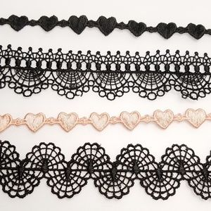 Black & Pink Lace Choker Necklace Hearts Gothic 4